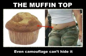 Muffin top humor - woman with camouflage muffin