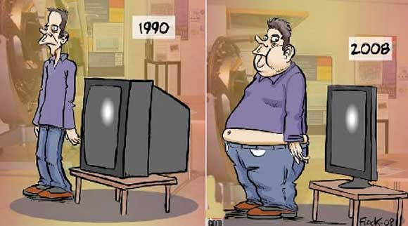 link between television and obesity cartoon