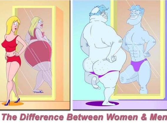 men women mirror Men, Women and Perceived Body Image