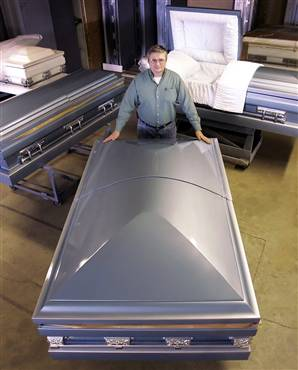 Casket at funeral home - extra large size for obese person