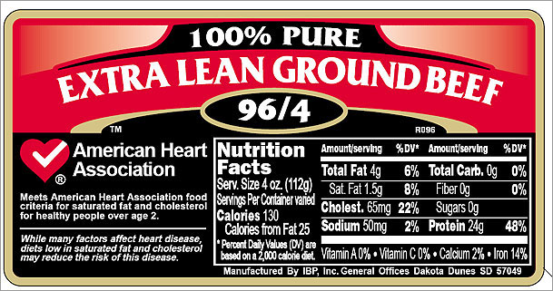 USDA Meat label for extra lean ground beef