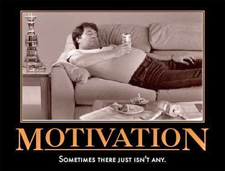 Motivation humor - fat man drinking beer and smoking on couch