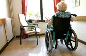 Elderly woman in Care Home in the United Kingdom