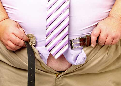 Pants too small for bulging obese waist