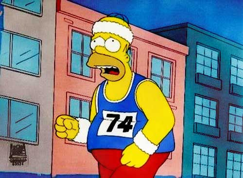 Homer Simpson jogging with head band