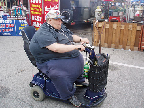 fat guy on a scooter New Study Offers Tips to Help Improve Mobility for Diabetic Patients