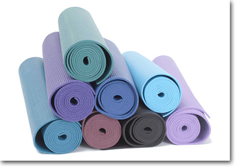 yoga mats in different colors