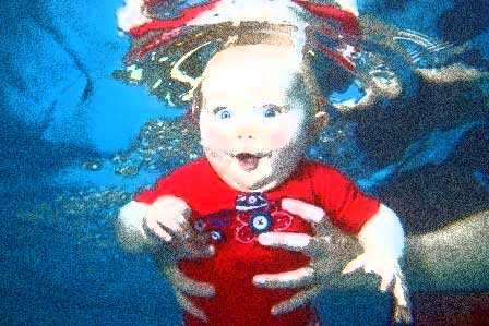 Baby drowning in water