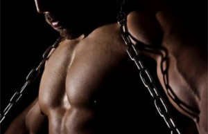 bodybuilder with chains
